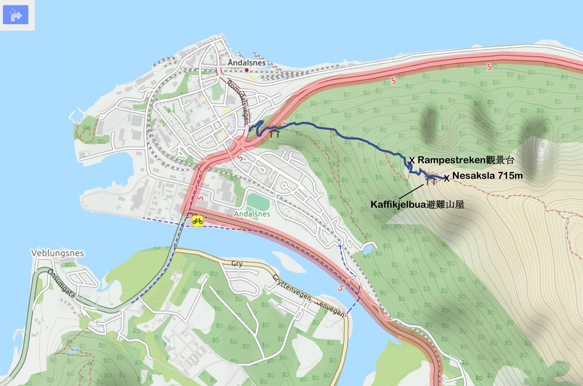 【北歐景點】峽灣區起點Åndalsnes健行 - 鳥瞰峽灣全景的Rampestreken觀景台 2